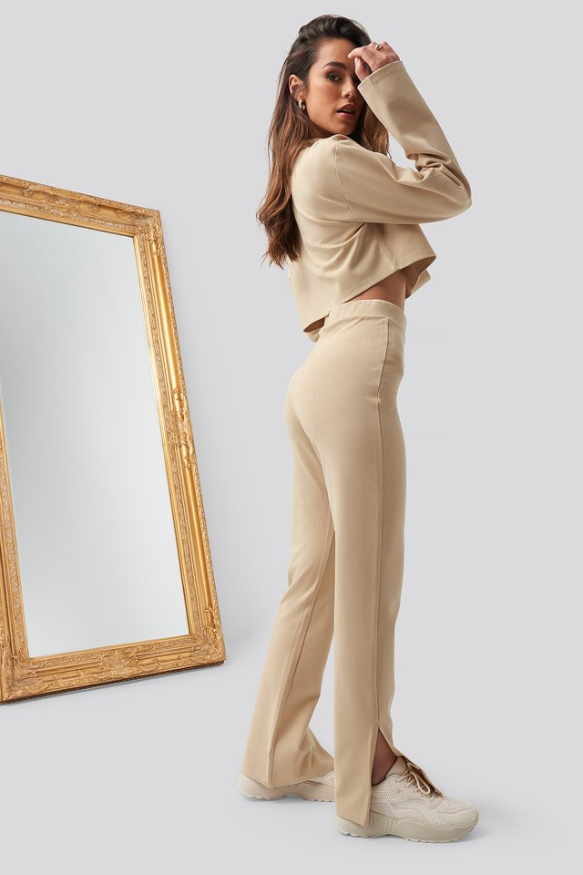 Side Slit Pants Beige
