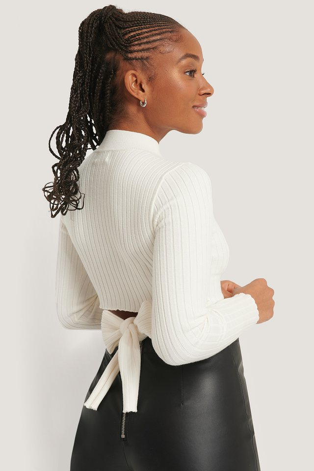 Tied Back Knitted Top White