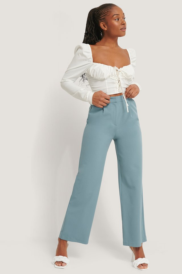 Wide Leg Suit Pants Stone Blue