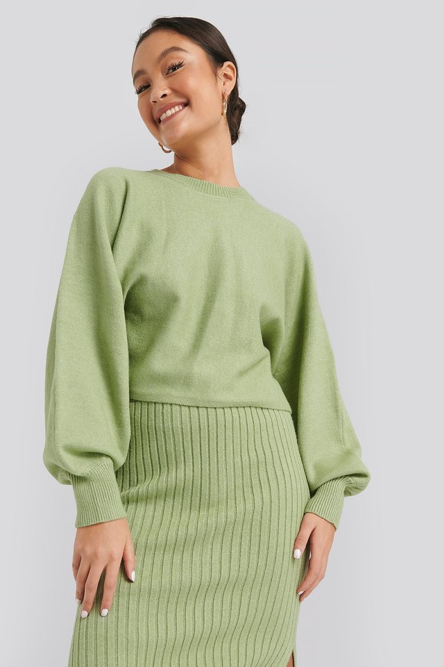 Round Neck Cropped Knitted Sweater Green