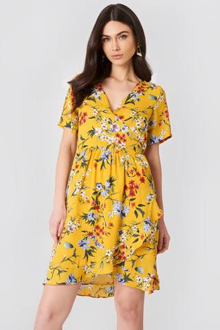 Yellow Flower Eleonor Wrap Dress