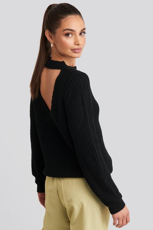 Knit Back Open Black