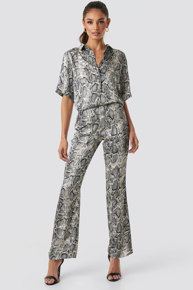 Grey Comb Lea Snake Pant