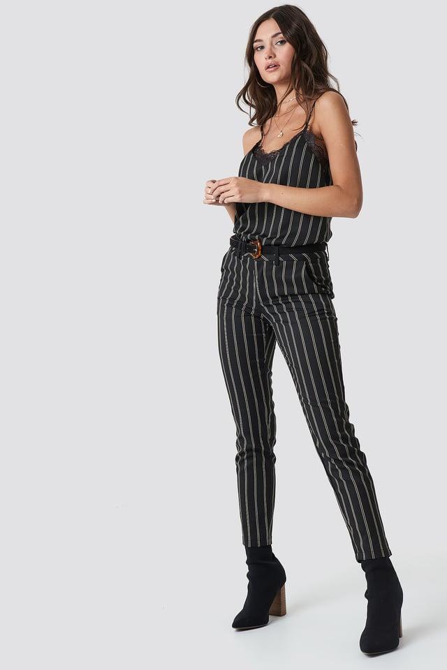 Malin Stripe Pant Grey Comb