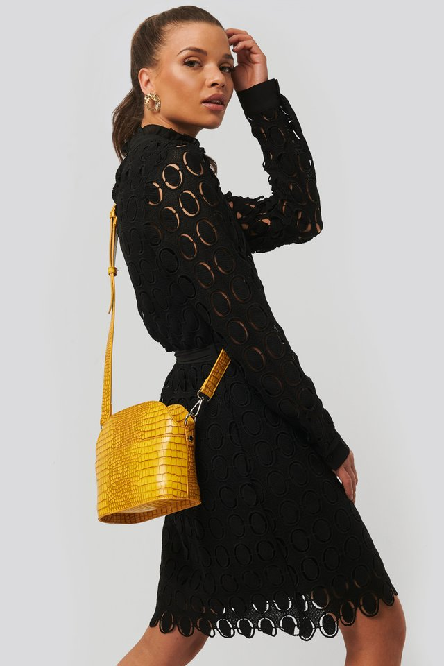 Yellow Rounded Croc Crossbody Bag