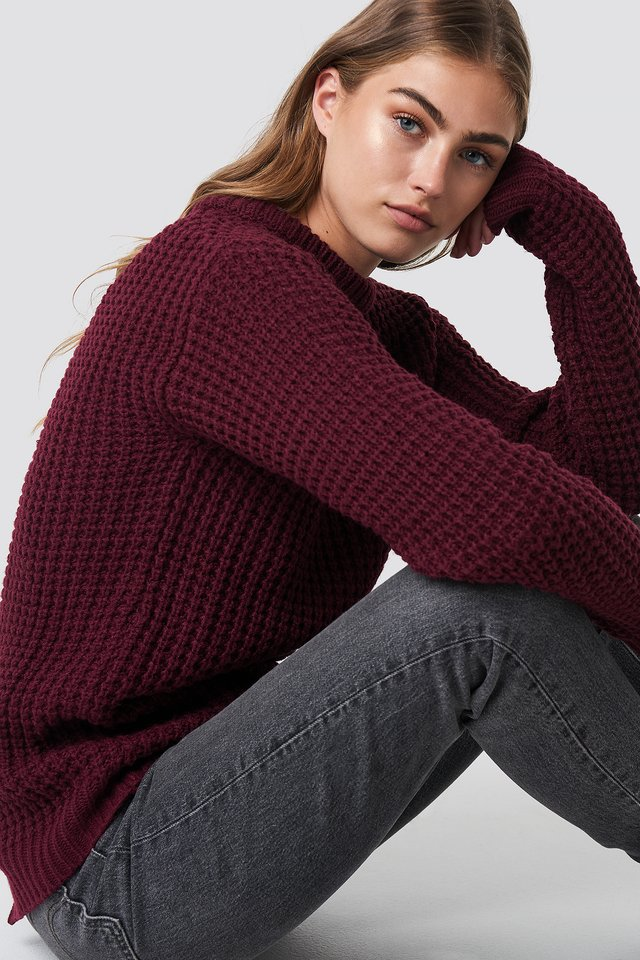 Samira Open Back Knit Wine Red
