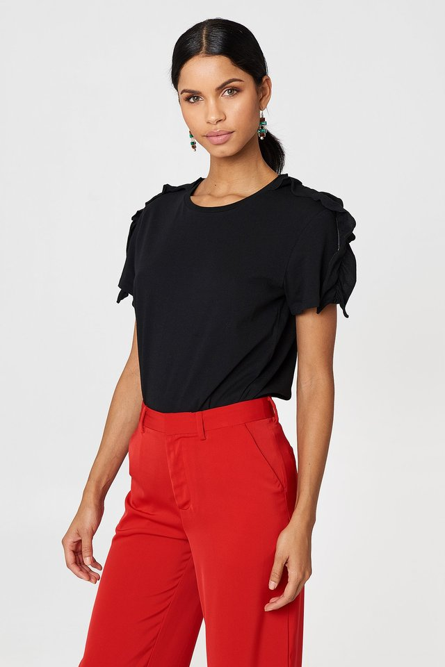 Black Tilda Frill Top