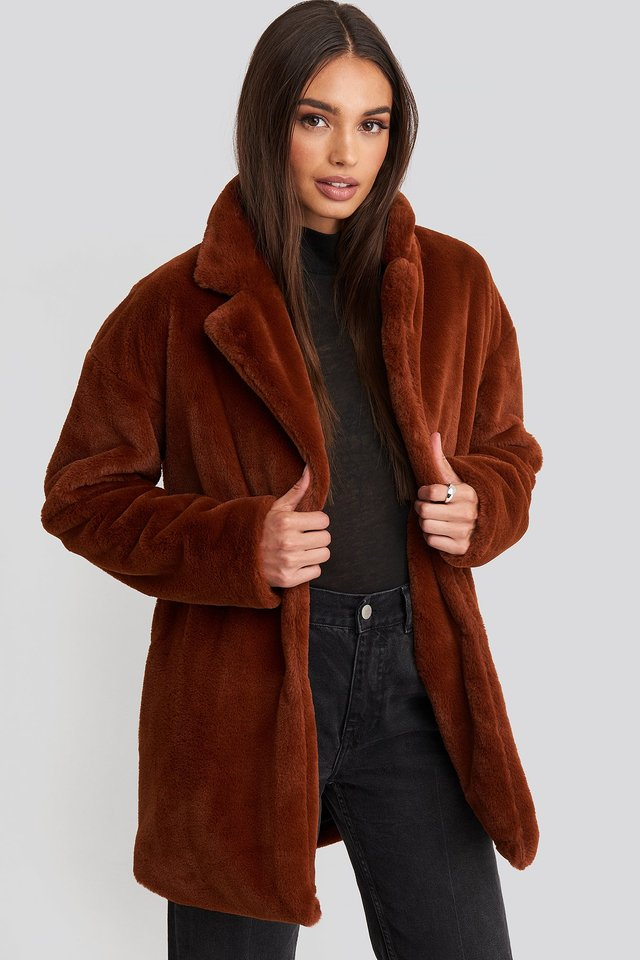 Tyra Faux Fur Jacket Rust