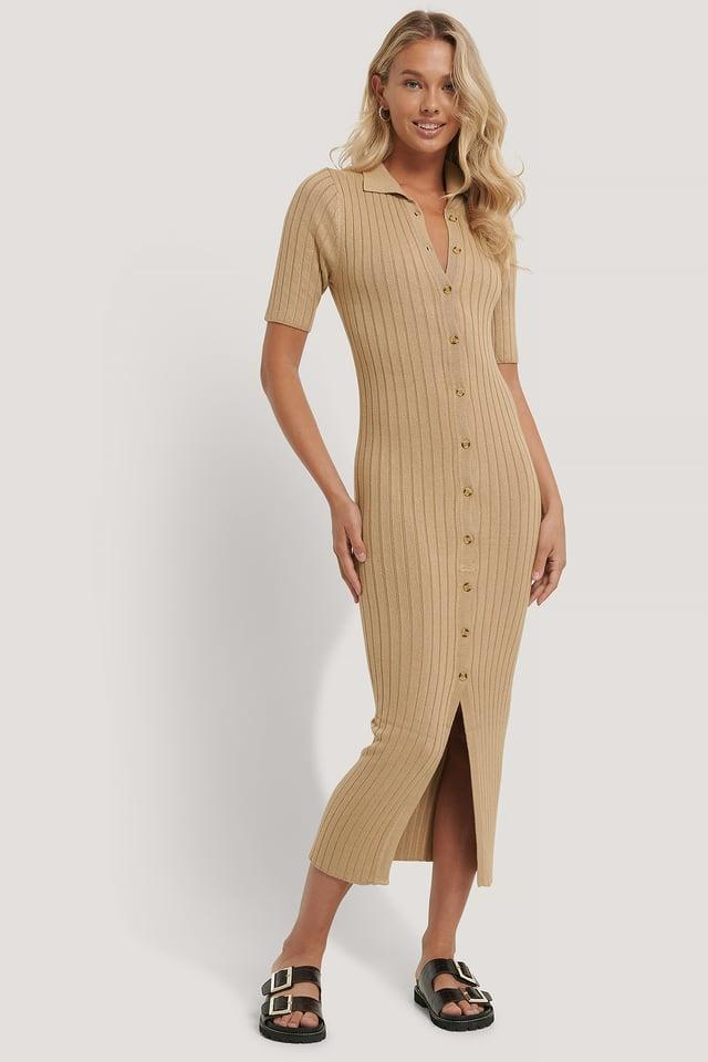 Gestricktes Midi-Kleid Beige