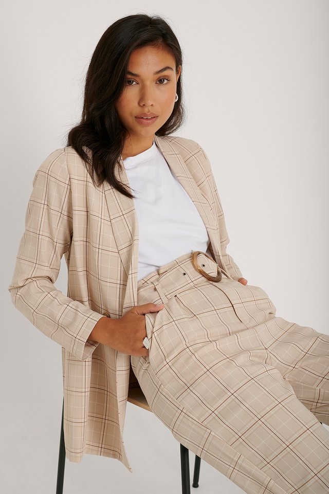 Beige/Brown Rutig Blazer