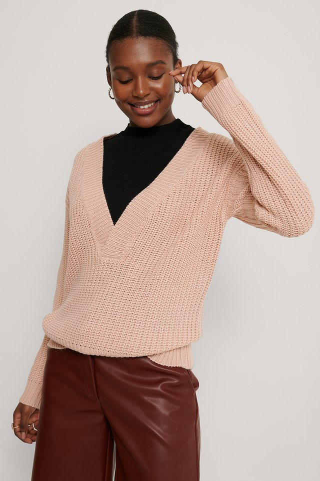 Melody V-Neck Knit Dusty Pink