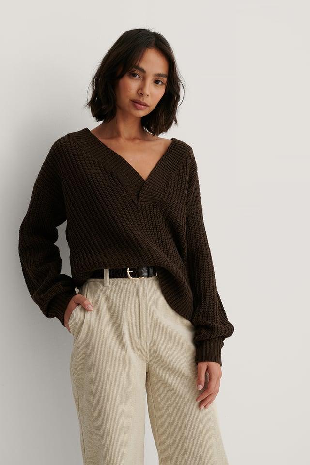 Melody V-Neck Knit Dark Brown