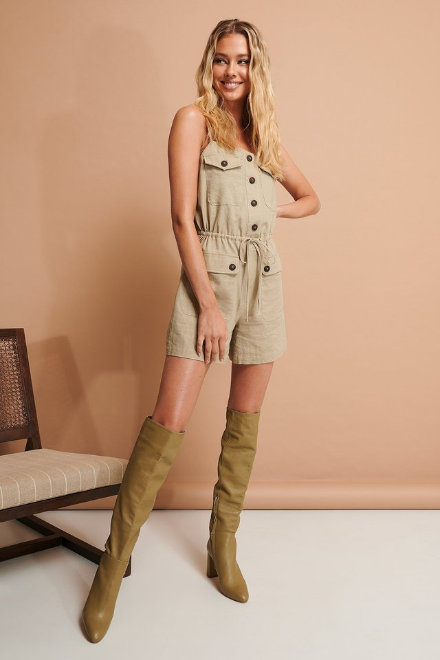 Beige Buttoned Playsuit
