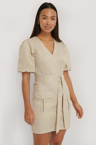 Beige Puff Sleeve Pocket Dress