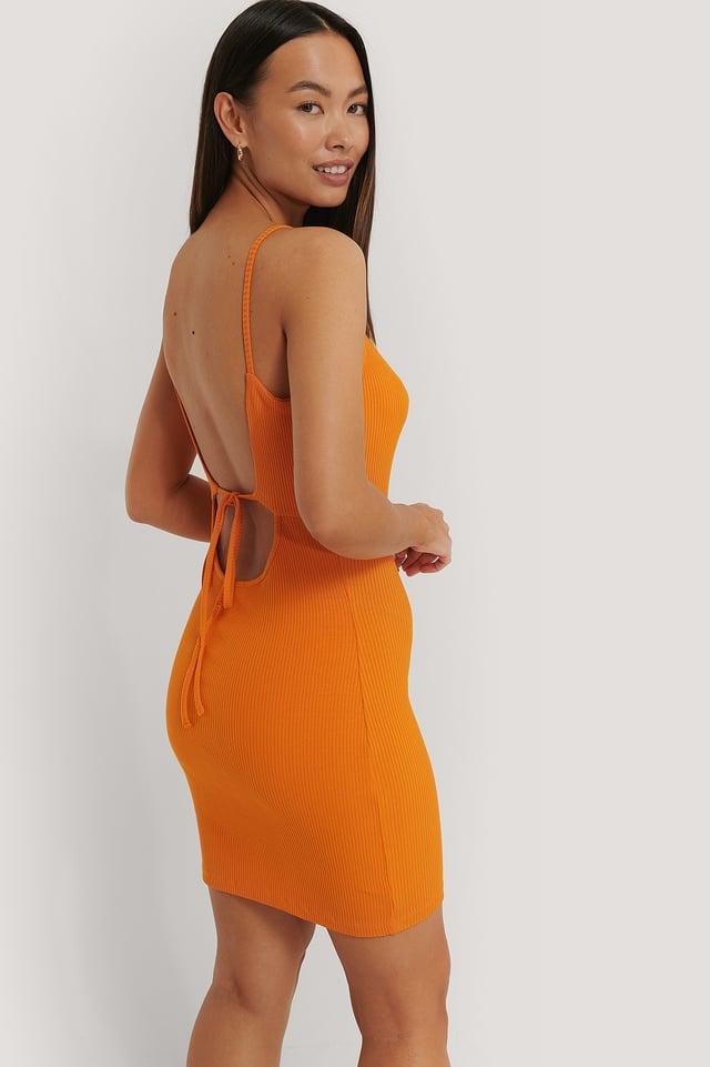Ribbed Open Back Jersey Dress Orange