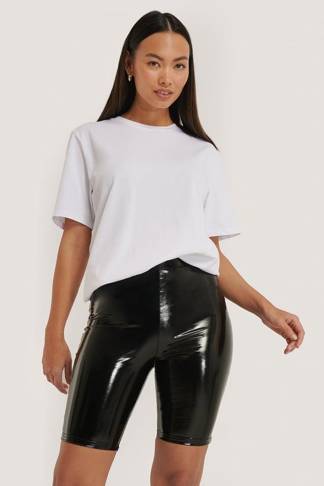 Shiny Biker Shorts Black