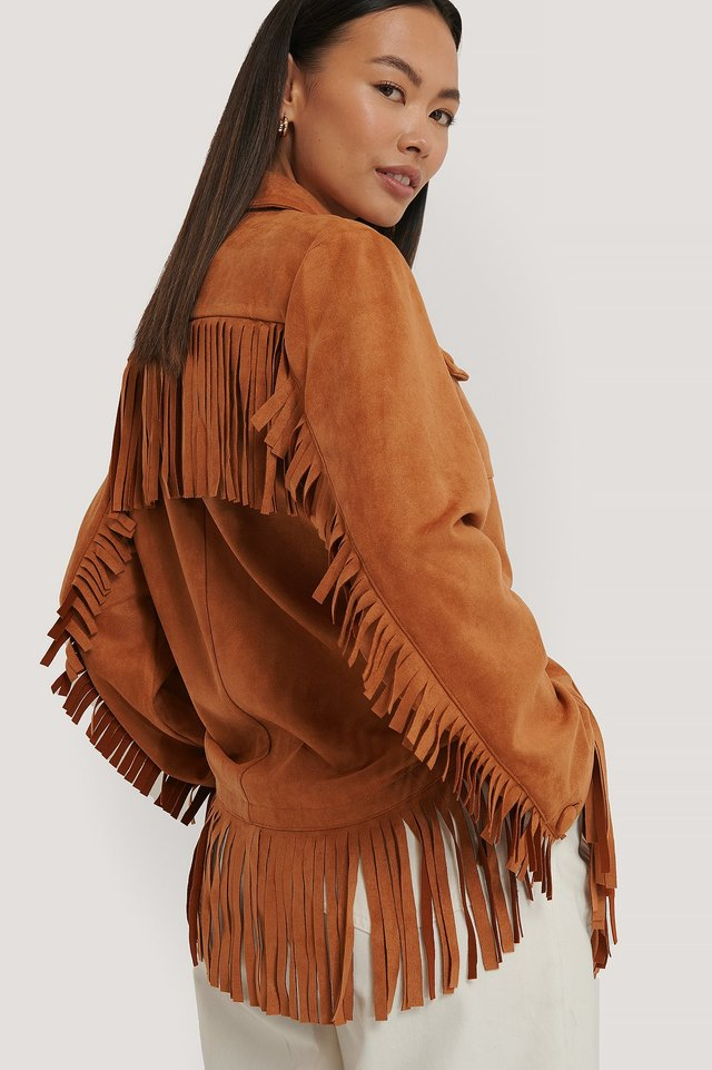 Frill Faux Suede Jacket Brown
