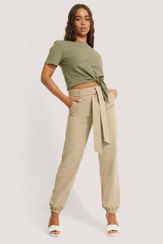 Beige Belted Loose Pants