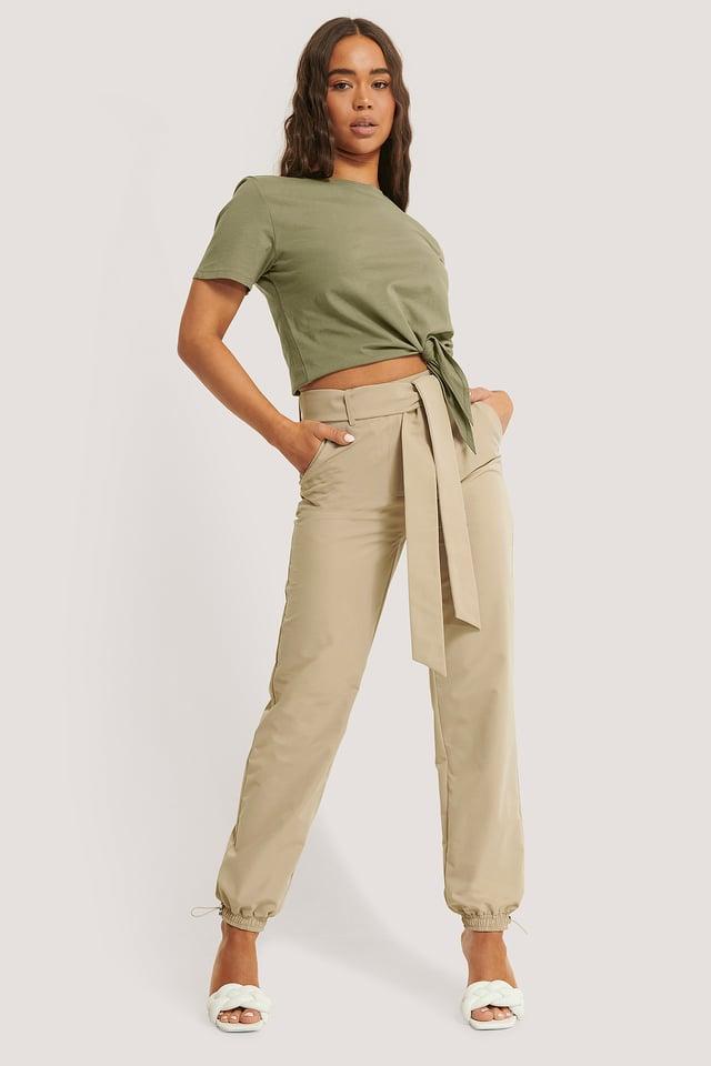 Belted Loose Pants Beige