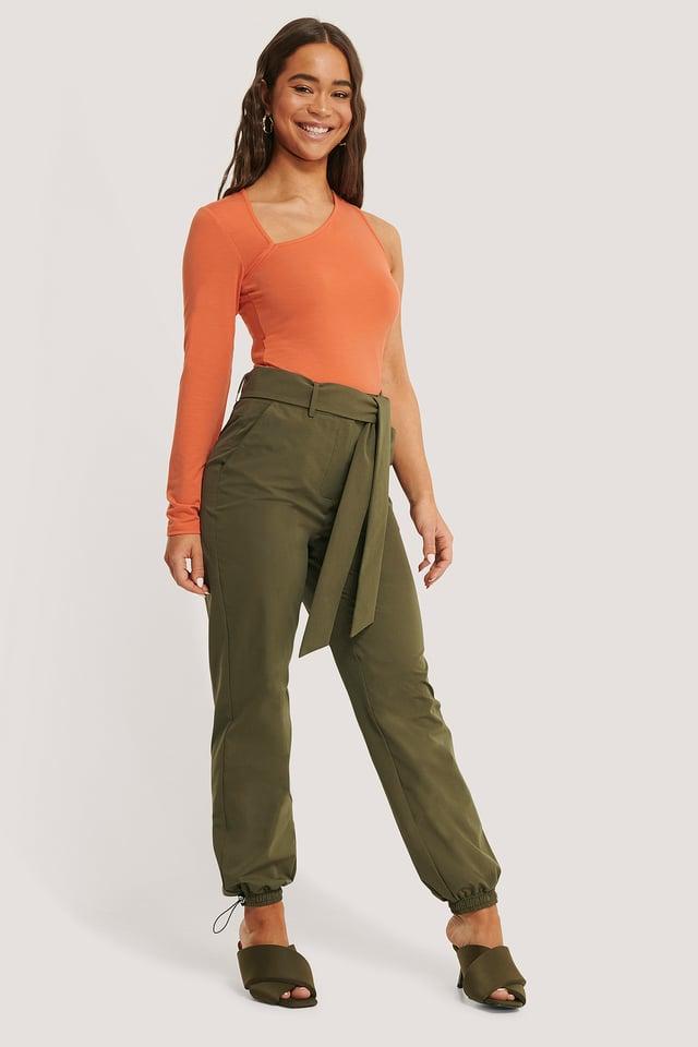 Belted Loose Pants Dark Green