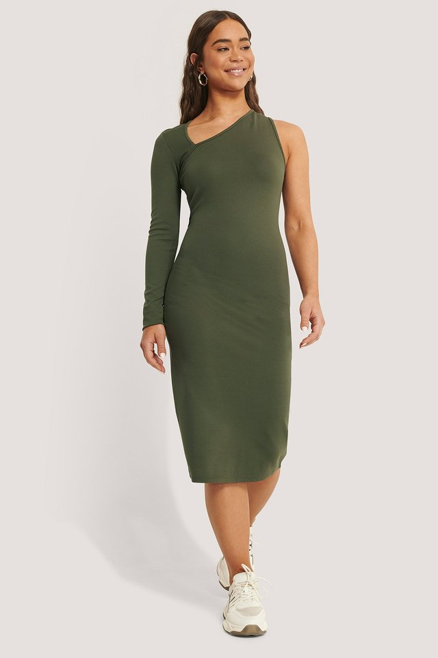 Cut Detail Jersey Dress Dark Green