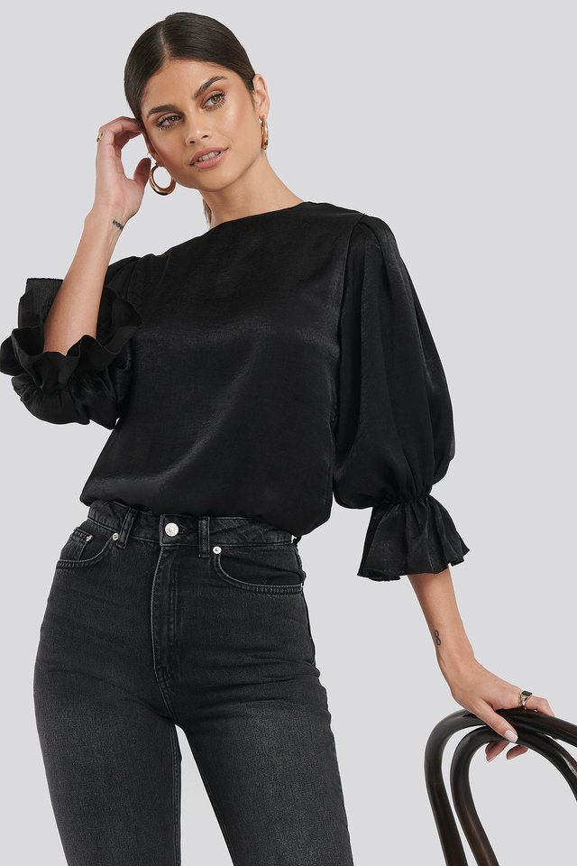 Satin Balloon Sleeve Blouse Black