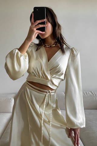 Cream Satin Balloon Sleeve Blouse