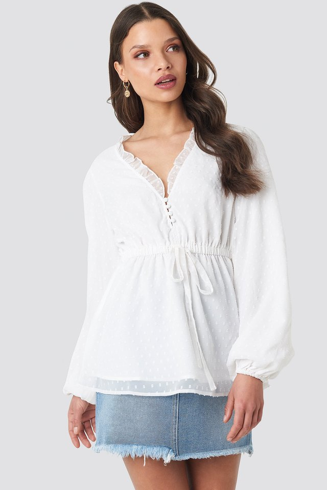 Off White Frilled Neck Chiffon Blouse