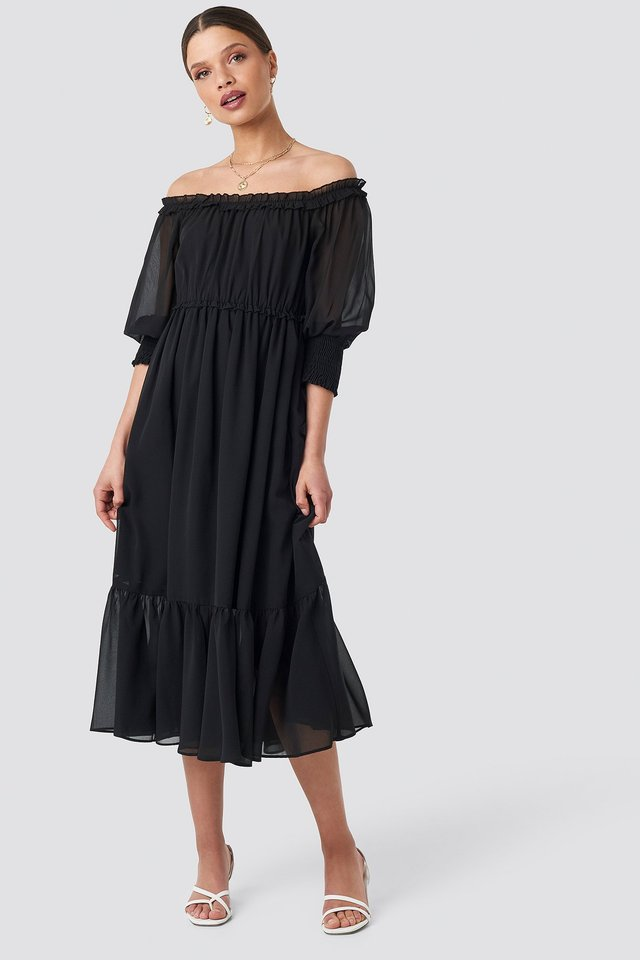 Off Shoulder Chiffon Midi Dress Black