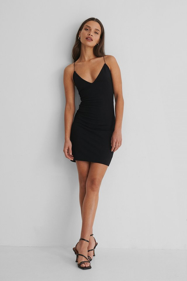Bodycon Strap Mini Dress Black