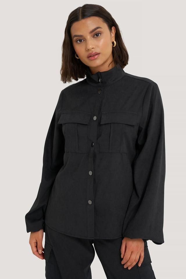 Black Hemd Mit Taschendetail
