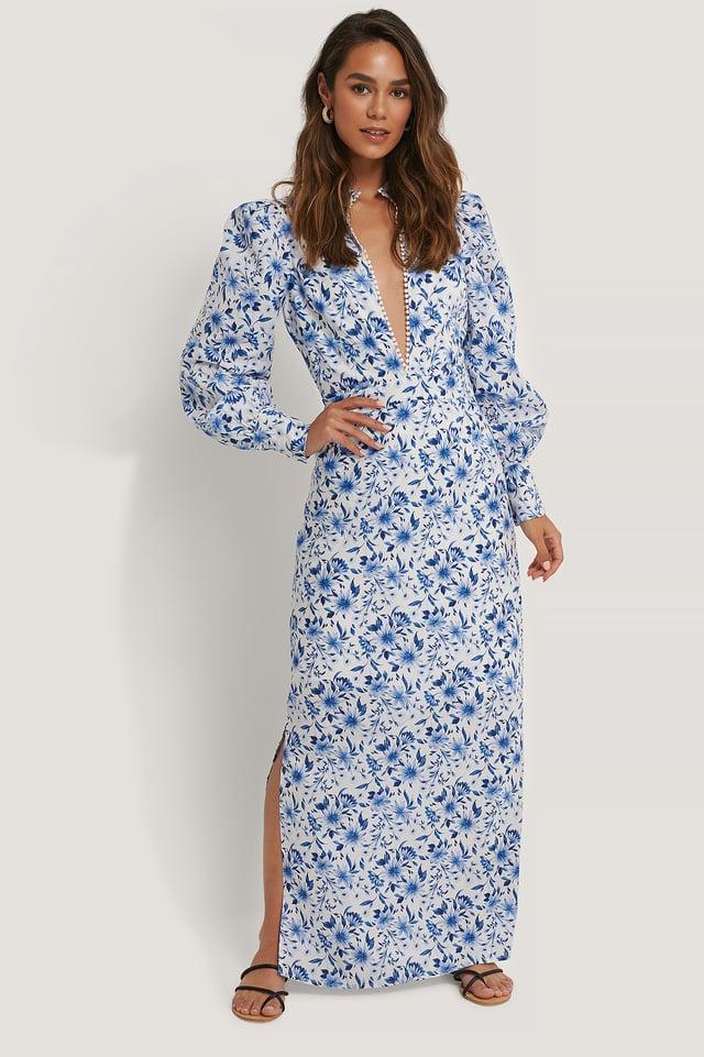 Vestido Maxi Estampado Floral Y Escote Pronunciado Flower Print