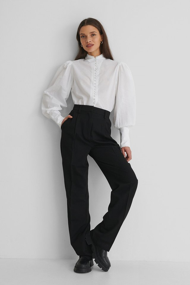 White Front Button Blouse