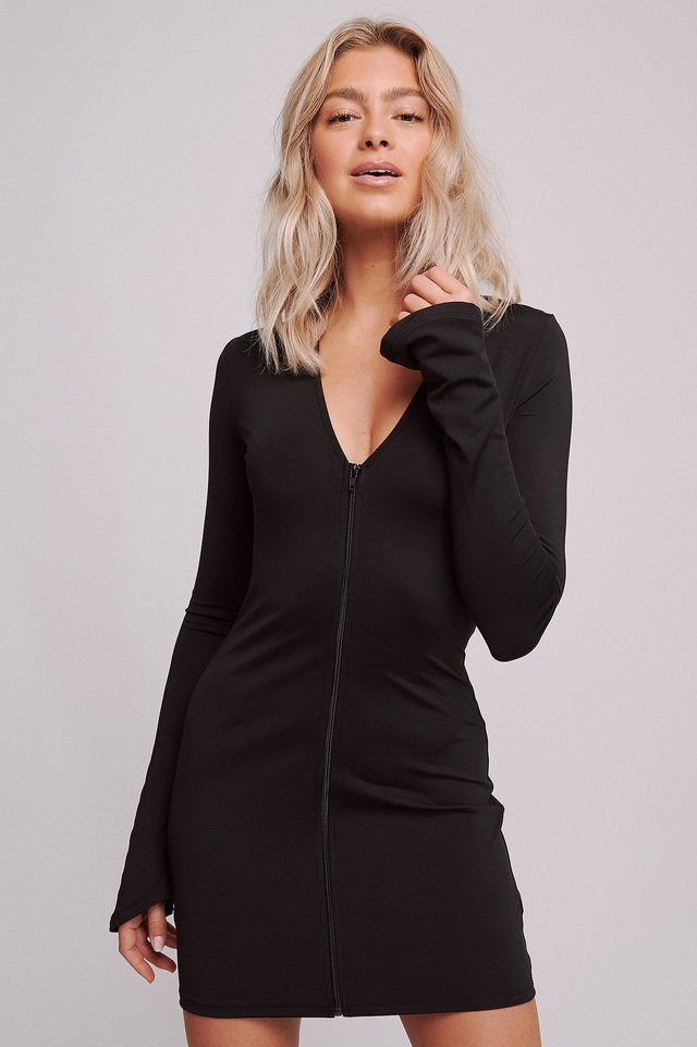 Front Zip Jersey Dress Black