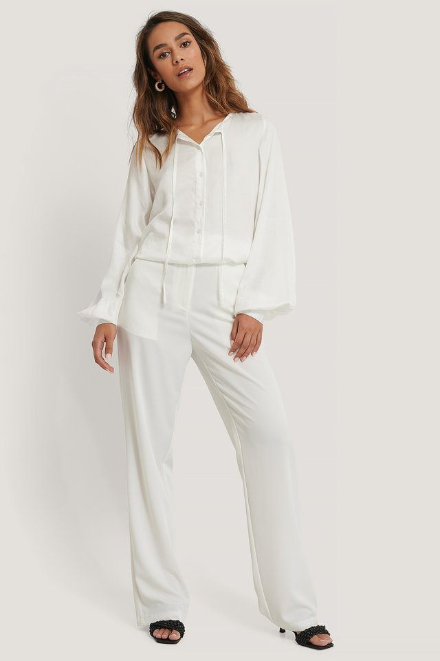 White Loose Fit Pants