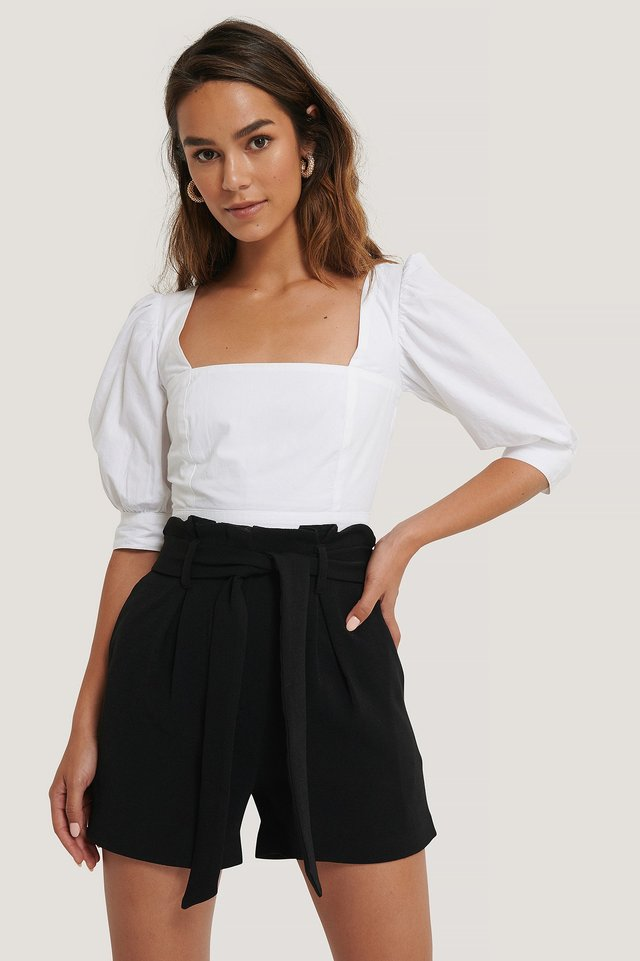Puff Arms Cropped Top White