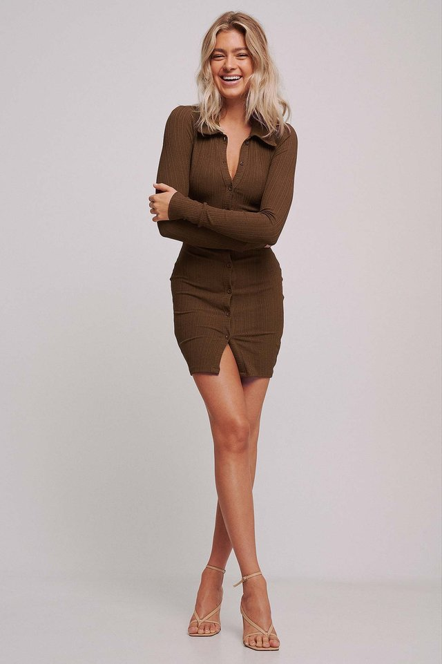 Ribbed Front Button dress Toffee