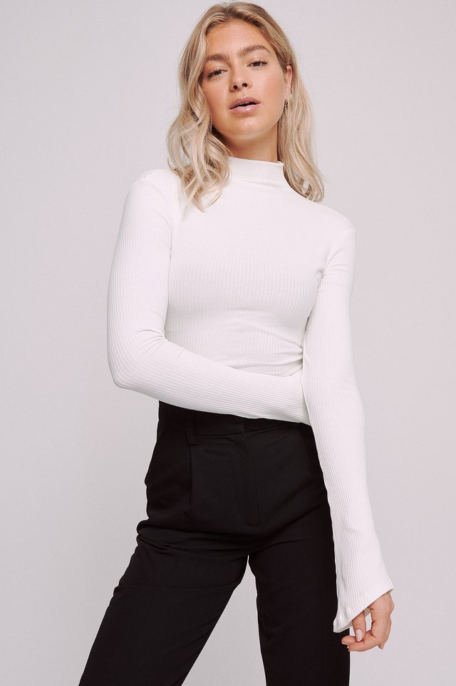 Ribbed High Neck long sleeve Top White