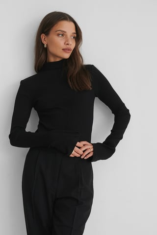 Black Ribbed High Neck long sleeve Top