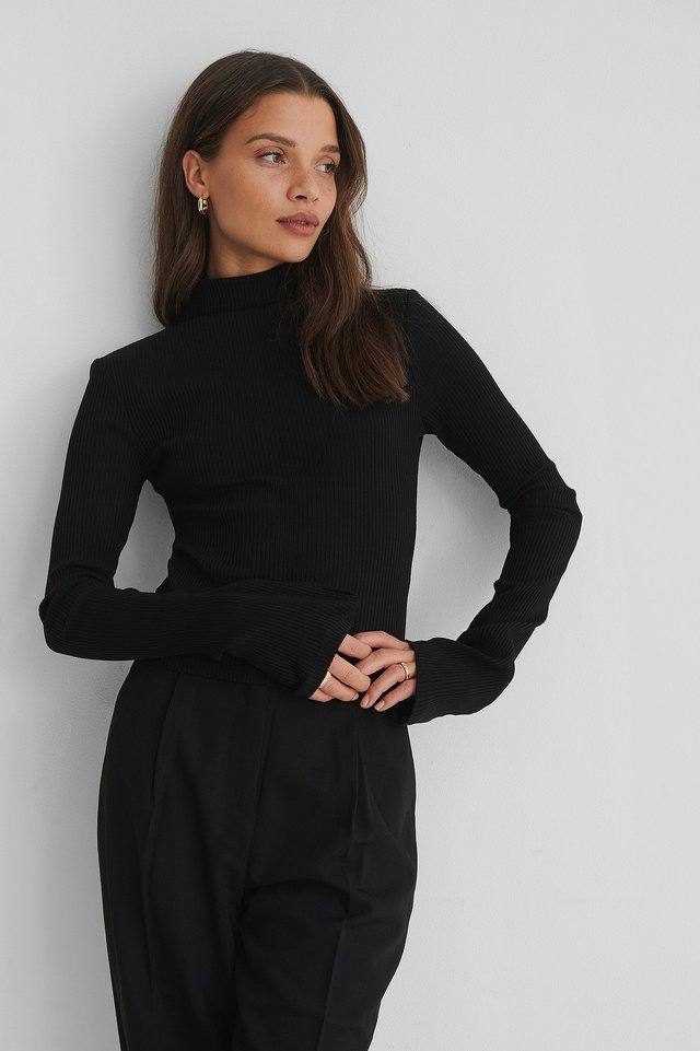 Ribbed High Neck long sleeve Top Black