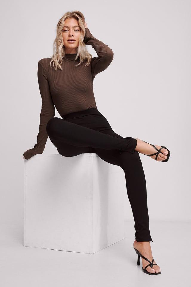 Bukser Med Sidesplitt Black