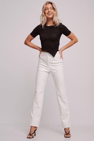 White Genanvendte Højtaljede Lige PU-bukser