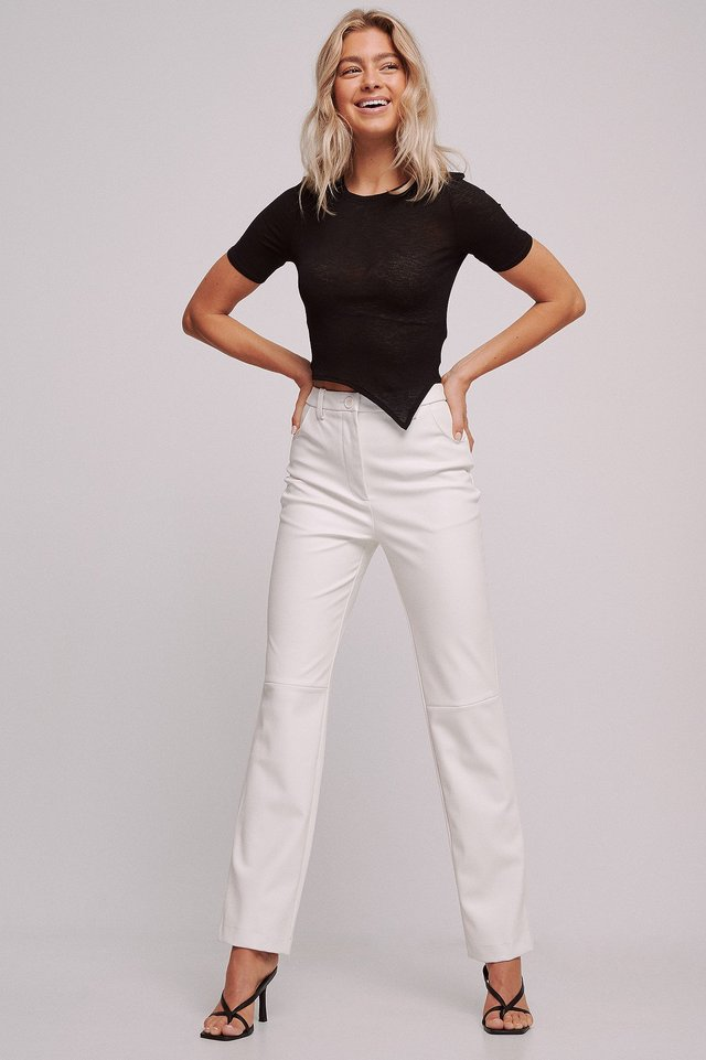 Recycled Straight High Waist PU Pants White