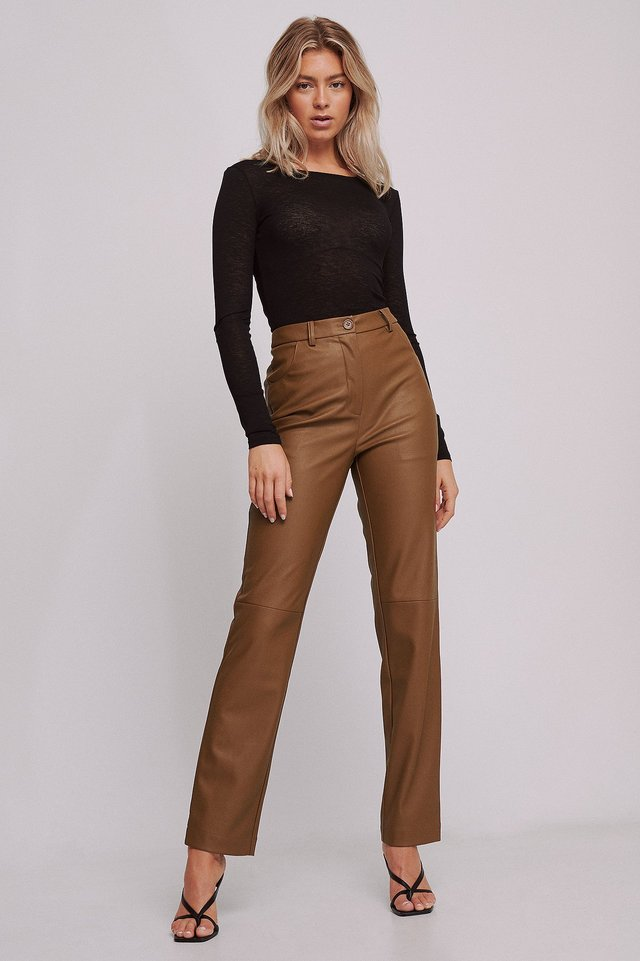 Recycled Straight High Waist PU Pants Toffee
