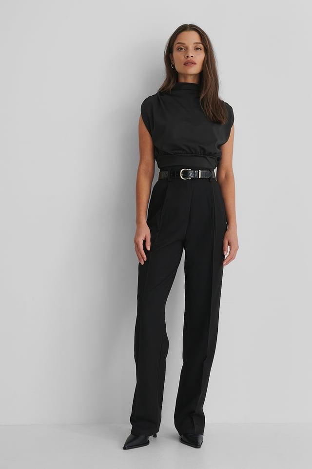 Black Straight Suit Pants