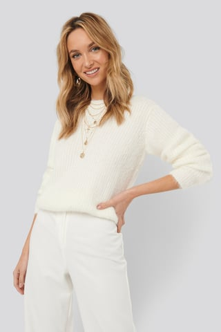 White Knitted Roundneck Sweater