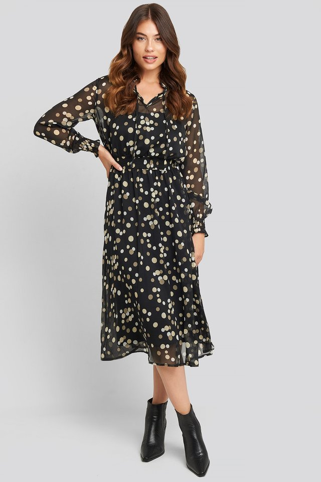 Alina Dress Black Dot