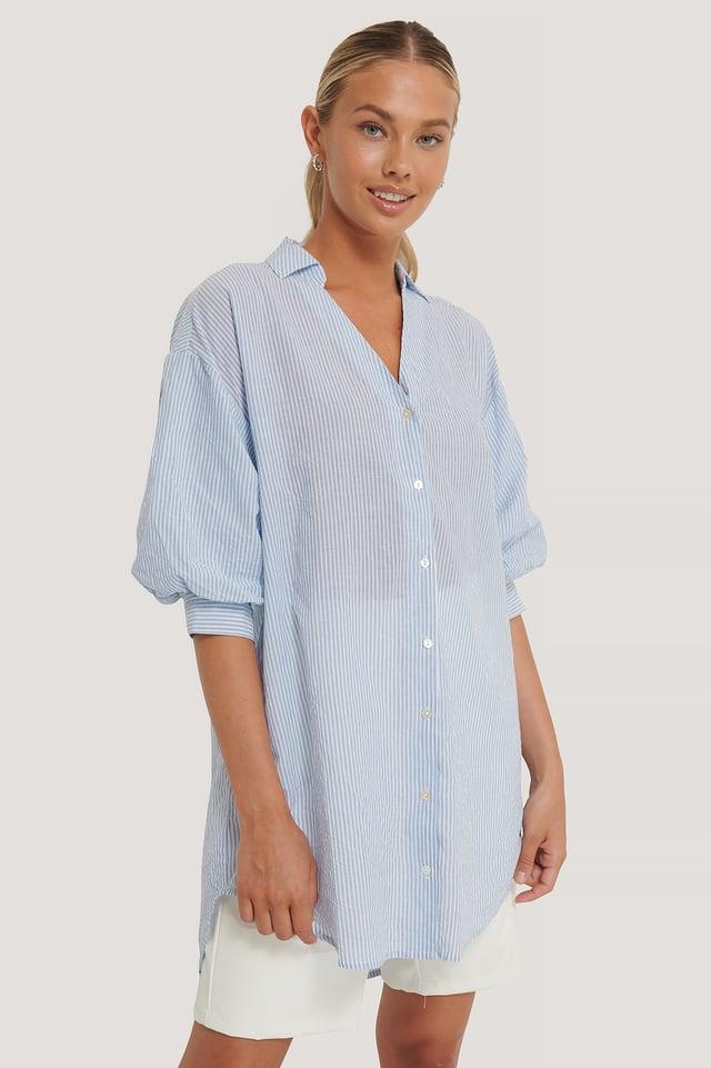 Oversized Shirt Blue/White