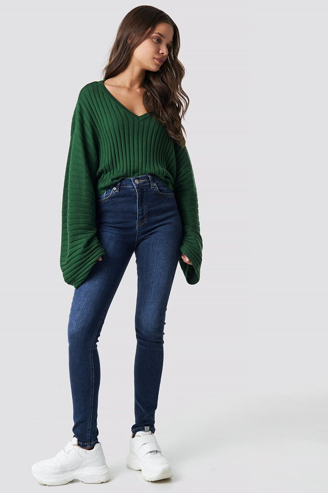 Ribbed Green Sweater.