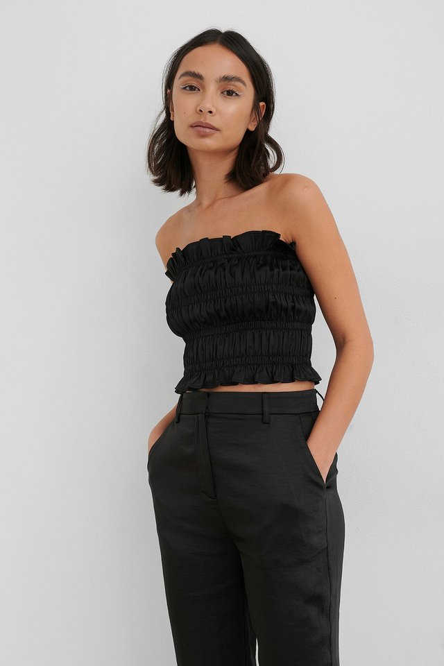 Black Smocked Satin Top